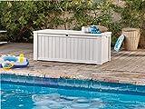 Koll Living Auflagenbox/Kissenbox 570 Liter l 100% Wasserdicht l mit Belüftung dadurch kein übler Geruch/Schimmel l Moderne Holzoptik l Deckel belastbar bis 250 KG (2 Personen) (Weiß) - 5