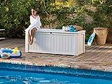 Koll Living Auflagenbox/Kissenbox 570 Liter l 100% Wasserdicht l mit Belüftung dadurch kein übler Geruch/Schimmel l Moderne Holzoptik l Deckel belastbar bis 250 KG (2 Personen) (Weiß) - 6