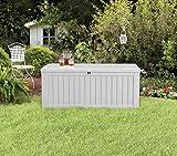 Koll Living Auflagenbox/Kissenbox 570 Liter l 100% Wasserdicht l mit Belüftung dadurch kein übler Geruch/Schimmel l Moderne Holzoptik l Deckel belastbar bis 250 KG (2 Personen) (Weiß) - 8