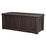 Koll Living Auflagenbox/Kissenbox 570 Liter l 100% Wasserdicht l mit Belüftung dadurch kein übler Geruch/Schimmel l Moderne Holzoptik l Deckel belastbar bis 250 KG (2 Personen) (Braun) - 2