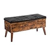 HOOBRO Sitzbank Schuhbank mit Stauraum, gepolsterte Truhe, Betttruhe, multifunktionale Truhe, 100 x 40 x 48 cm, Stabiler, für Flur, Wohnzimmer, Schlafzimmer, einfach zu montieren, Vintage EBF97CW01