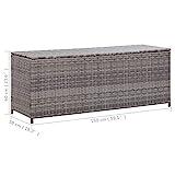 vidaXL Gartenbox Auflagenbox Kissenbox Kiste Gartentruhe Truhe Box Aufbewahrungsbox Auflagenkiste Garten Grau 150x50x60cm Poly Rattan - 4