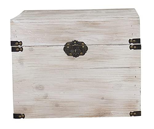 1x braune Holzbox mit Deckel | 45x35x35 cm | Neu | schöne Metallbeschläge veredeln die Truhe, Stauraum für Deko, Bilder, Filme - 2