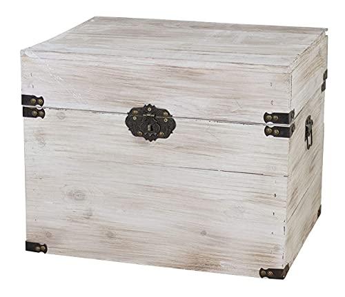 1x braune Holzbox mit Deckel | 45x35x35 cm | Neu | schöne Metallbeschläge veredeln die Truhe, Stauraum für Deko, Bilder, Filme - 3