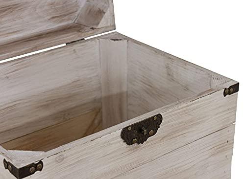 1x braune Holzbox mit Deckel | 45x35x35 cm | Neu | schöne Metallbeschläge veredeln die Truhe, Stauraum für Deko, Bilder, Filme - 4