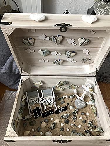 1x braune Holzbox mit Deckel | 45x35x35 cm | Neu | schöne Metallbeschläge veredeln die Truhe, Stauraum für Deko, Bilder, Filme - 5