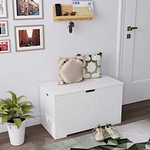 Homfa Sitzbank mit Stauraum Truhe Bank Sitztruhe Spielzeugkiste weiß 80 x 39,5 x 46,3 cm - 3