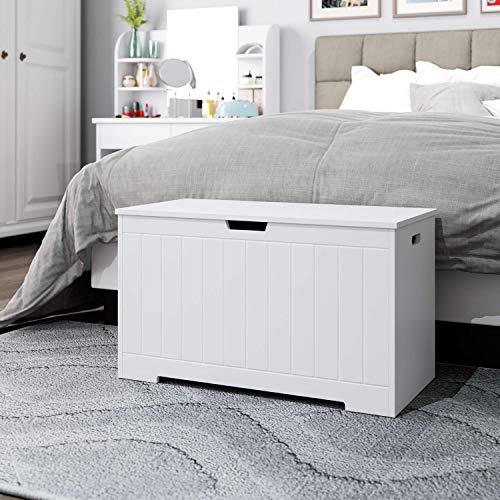 Homfa Sitzbank mit Stauraum Truhe Bank Sitztruhe Spielzeugkiste weiß 80 x 39,5 x 46,3 cm - 4