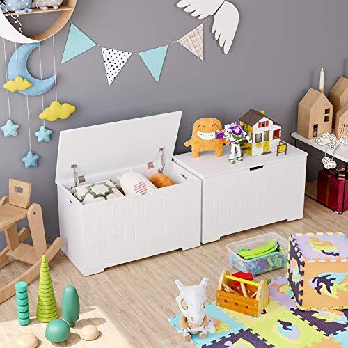 Homfa Sitzbank mit Stauraum Truhe Bank Sitztruhe Spielzeugkiste weiß 80 x 39,5 x 46,3 cm - 5