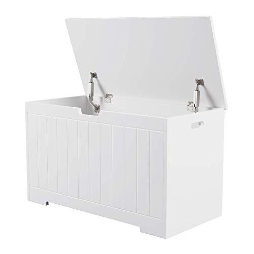 Homfa Sitzbank mit Stauraum Truhe Bank Sitztruhe Spielzeugkiste weiß 80 x 39,5 x 46,3 cm - 7