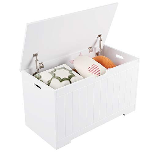 Homfa Sitzbank mit Stauraum Truhe Bank Sitztruhe Spielzeugkiste weiß 80 x 39,5 x 46,3 cm - 8