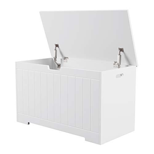 Homfa Sitzbank mit Stauraum Truhe Bank Sitztruhe Spielzeugkiste weiß 80 x 39,5 x 46,3 cm - 9