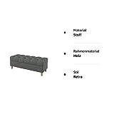 Furninero - Tiefer gepolsterter Sitzbank Sitzhocker Sitzruhe Betthocker Ottomane, mit Stauraum, Gerundete Beine, 120 cm breit, Majestic Velvet Grey Stoff (Licht zu reinigende), Grau - 4