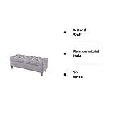 Furninero - Tiefer gepolsterter Sitzbank Sitzhocker Sitzruhe Betthocker Ottomane, mit Stauraum, Gerundete Beine, 120 cm breit, Nordic Light Grey Stoff (Wasserabweisen), Grau - 4