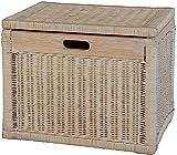 Korb mit Deckel Rattan geflochten Farbe Vintage Weiß, Regalkorb, Aufbewahrungsbox