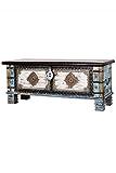 Orientalische Truhe Kiste aus Holz Cemile - 116cm | Vintage Sitzbank mit Aufbewahrung für den Flur | Aufbewahrungsbox mit Deckel im Bad | Betttruhe als Kissenbox oder Deko im Schlafzimmer