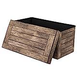 WOLTU® Sitzhocker mit Stauraum Sitzbank faltbar Truhen Aufbewahrungsbox, Deckel abnehmbar, Gepolsterte Sitzfläche aus Stoffbezug, belastbar bis 150KG, 76x37,5x38cm(LxBxH), SH23dc - 4