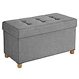 SONGMICS Sitztruhe, faltbare Sitzbank, Sitzhocker mit Stauraum und Deckel, Füße aus Massivholz, platzsparend, 65 L, bis 300 kg belastbar, 76 x 38 x 40 cm, für Schlafzimmer, Flur, hellgrau LSF16GYX