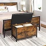 VASAGLE Sitzbank mit Stauraum, gepolsterte Truhe, 80 x 40 x 50 cm, Betttruhe, Flur, Schlafzimmer, Wohnzimmer, Metall, einfacher Aufbau, Industrie-Design, Kunstleder, vintagebraun-schwarz LSC80BX - 4