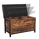VASAGLE Sitzbank mit Stauraum, gepolsterte Truhe, 80 x 40 x 50 cm, Betttruhe, Flur, Schlafzimmer, Wohnzimmer, Metall, einfacher Aufbau, Industrie-Design, Kunstleder, vintagebraun-schwarz LSC80BX - 7
