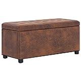 vidaXL Ottoman mit Stauraum Sitzhocker Sitzwürfel Sitzbank Aufbewahrungsbox Hocker Truhenbank Sitztruhe Truhe Sitzbox 87,5cm Braun Wildleder-Optik
