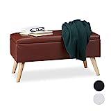 Relaxdays Sitzbank mit Stauraum, 40 L, gepolstert, Holzbeine, Truhenbank Kunstleder, HxBxT: 40 x 80 x 39,5 cm, braun, Größe