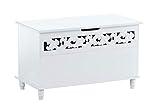 CLP Truhenbank Millie mit aufklappbarem Deckel   Sitzbank im Landhausstil   Wäschetruhe mit floralen Elementen im Landhausstil, Farbe:weiß