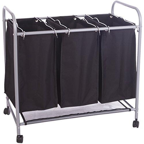 DXP Wäschesortierer Wäschewagen Wäschesammler schwarz LWY01S, 75x44,5x74,5cm