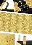 Sitzbank mit Stauraum Aufbewahrungsbox aus Leinen Sitzhocker und Deckel mit Holzfüßen Truhenbank Stoffbezug Gepolsterte Betthocker Modern Design für Wohnzimmer Büro Schlafzimmer Flur Gelb - 7