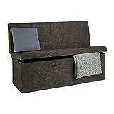 Relaxdays Faltbarer Sitzhocker mit Lehne XL HBT 73 x 114 x 38 cm stabiler Sitzcube als Fußablage Sitzbank und Sitzwürfel aus Leinen als Aufbewahrungsbox mit Stauraum mit Deckel für Wohnraum, braun