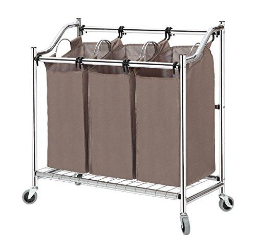 StorageManiac 3-teiliger Korb aus Stahlrohr zum Sortieren von Wäsche, 89x40x89,5cm