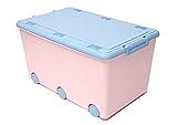 LAPSI® Spielzeugkiste, Aufbewahrungsbox mit 6 Rollen mit Deckel auf Rädern Rosa Hase