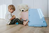LAPSI® Spielzeugkiste, Aufbewahrungsbox mit 6 Rollen mit Deckel auf Rädern Rosa Hase - 3