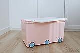 LAPSI® Spielzeugkiste, Aufbewahrungsbox mit 6 Rollen mit Deckel auf Rädern Rosa Hase - 4