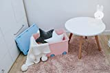 LAPSI® Spielzeugkiste, Aufbewahrungsbox mit 6 Rollen mit Deckel auf Rädern Rosa Hase - 5