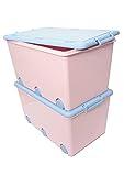 LAPSI® Spielzeugkiste, Aufbewahrungsbox mit 6 Rollen mit Deckel auf Rädern Rosa Hase - 6