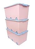 LAPSI® Spielzeugkiste, Aufbewahrungsbox mit 6 Rollen mit Deckel auf Rädern Rosa Hase - 7