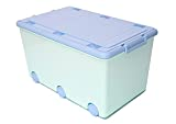 LAPSI® Spielzeugkiste, Aufbewahrungsbox mit 6 Rollen mit Deckel auf Rädern Grün Hase