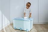 LAPSI® Spielzeugkiste, Aufbewahrungsbox mit 6 Rollen mit Deckel auf Rädern Grün Hase - 2