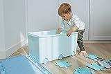 LAPSI® Spielzeugkiste, Aufbewahrungsbox mit 6 Rollen mit Deckel auf Rädern Grün Hase - 3
