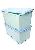 LAPSI® Spielzeugkiste, Aufbewahrungsbox mit 6 Rollen mit Deckel auf Rädern Grün Hase - 6