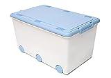 LAPSI® Spielzeugkiste, Aufbewahrungsbox mit 6 Rollen mit Deckel auf Rädern Weiß Hase