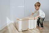 LAPSI® Spielzeugkiste, Aufbewahrungsbox mit 6 Rollen mit Deckel auf Rädern Beige Teddybär - 2
