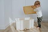 LAPSI® Spielzeugkiste, Aufbewahrungsbox mit 6 Rollen mit Deckel auf Rädern Beige Teddybär - 3