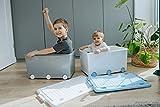 LAPSI® Spielzeugkiste, Aufbewahrungsbox mit 6 Rollen mit Deckel auf Rädern Grau Eule - 4