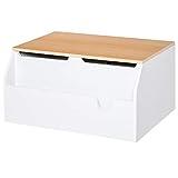 HOMCOM Kindersitzbank mit Stauraum 2-in-1 Truhenbank Spielzeugkiste Aufbewahrungstruhe 3-8 Jahre Kindermöbel Weiß 58 x 43 x 30 cm