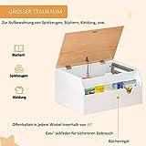 HOMCOM Kindersitzbank mit Stauraum 2-in-1 Truhenbank Spielzeugkiste Aufbewahrungstruhe 3-8 Jahre Kindermöbel Weiß 58 x 43 x 30 cm - 5