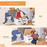 HOMCOM Kindersitzbank mit Stauraum 2-in-1 Truhenbank Spielzeugkiste Aufbewahrungstruhe 3-8 Jahre Kindermöbel Weiß 58 x 43 x 30 cm - 6