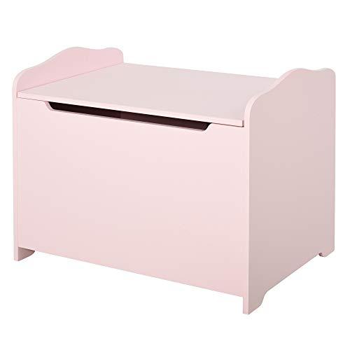 HOMCOM Spielzeugtruhe Kindersitzbank mit Stauraum 2-in-1 Truhenbank Spielzeugkiste Aufbewahrungstruhe 3+ Jahre Kindermöbel Rosa 60 x 30 x 50 cm