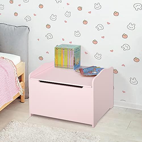 HOMCOM Spielzeugtruhe Kindersitzbank mit Stauraum 2-in-1 Truhenbank Spielzeugkiste Aufbewahrungstruhe 3+ Jahre Kindermöbel Rosa 60 x 30 x 50 cm - 2